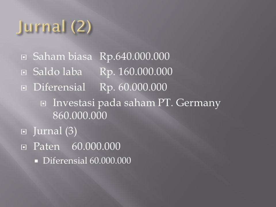  Saham biasaRp.640.000.000  Saldo labaRp. 160.000.000  DiferensialRp. 60.000.000  Investasi pada saham PT. Germany 860.000.000  Jurnal (3)  Pate
