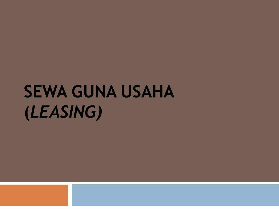 Finance lease (hak opsi) Operating Lease (tanpa hak opsi) 1).Risiko ekonomis atas obyek lease sepenuhnya ada pada pihak lessee, oleh karena itu kewajiban untuk asuransi benda ditanggung oleh lessee 2) Biasanya meliputi suatu jangka waktu yang sama/ hampir sama dengan umur ekonomis benda tersebut dan selama jangka waktu tersebut perjanjian leasing tidak dapat diputuskan / dihentikan.