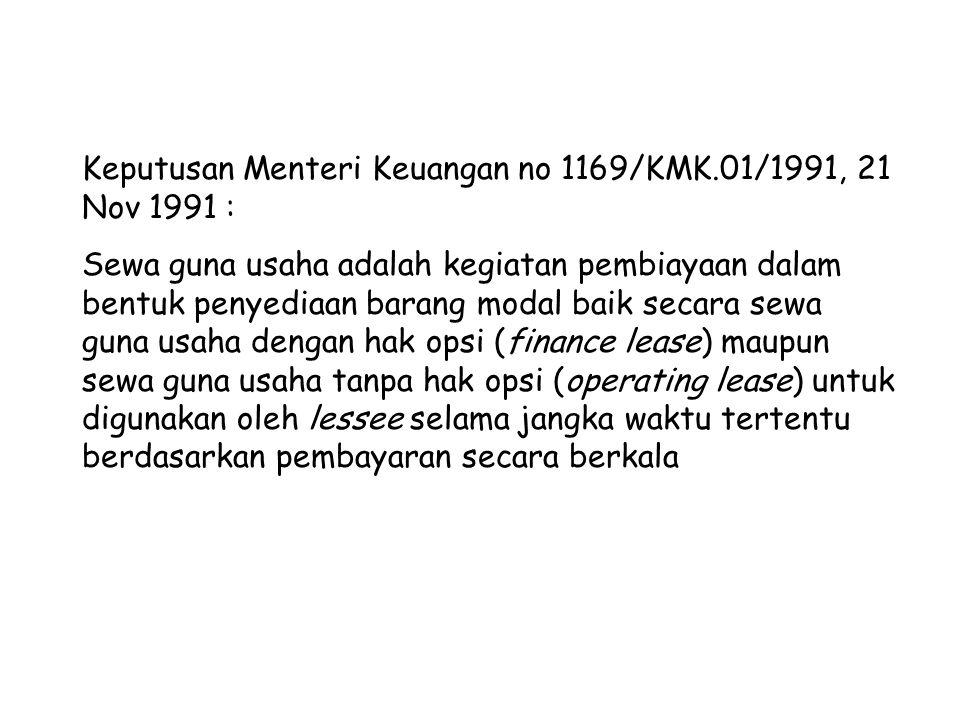 Keputusan Menteri Keuangan no 1169/KMK.01/1991, 21 Nov 1991 : Sewa guna usaha adalah kegiatan pembiayaan dalam bentuk penyediaan barang modal baik sec