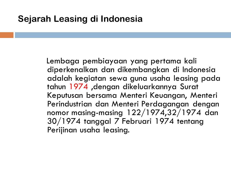 Sejarah Leasing di Indonesia Lembaga pembiayaan yang pertama kali diperkenalkan dan dikembangkan di Indonesia adalah kegiatan sewa guna usaha leasing