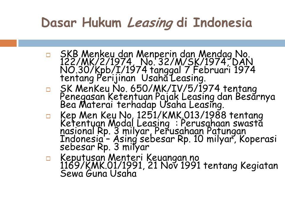 Dasar Hukum Leasing di Indonesia  SKB Menkeu dan Menperin dan Mendag No. 122/MK/2/1974, No. 32/M/SK/1974, DAN NO.30/Kpb/I/1974 tanggal 7 Februari 197