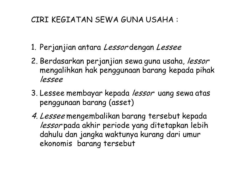 CIRI KEGIATAN SEWA GUNA USAHA : 1.Perjanjian antara Lessor dengan Lessee 2.Berdasarkan perjanjian sewa guna usaha, lessor mengalihkan hak penggunaan b