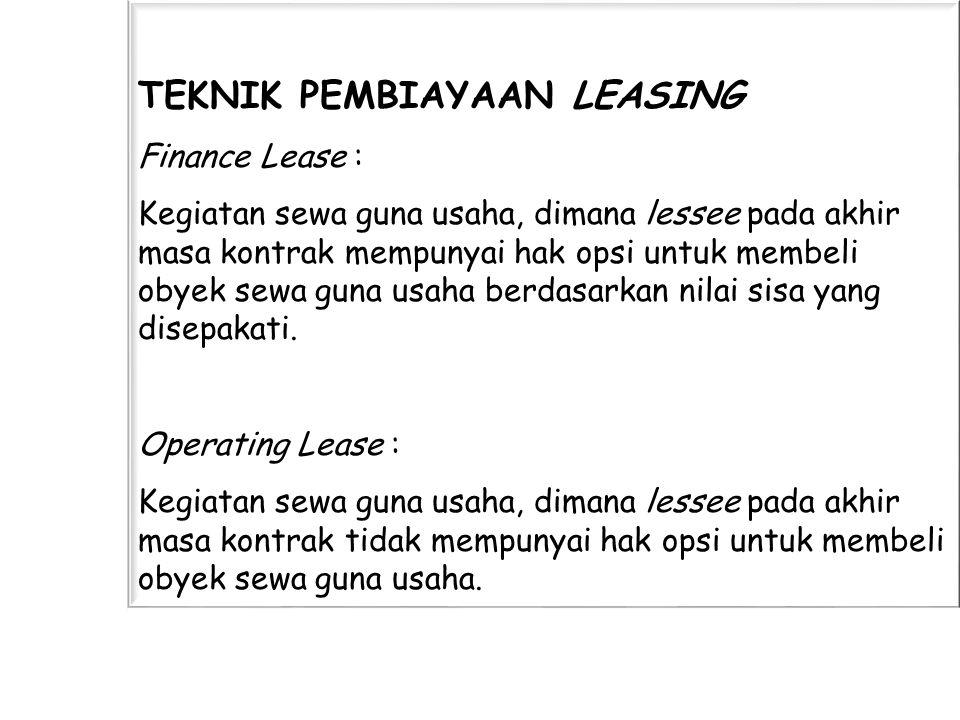 Dalam prakteknya dimasyarakat dikenal jenis leasing yang lain yaitu : Sale and Lease Back Pada dasarnya hanya terdapat 2 jenis leasing, karena sale and lease back adalah financial lease, hanya terdapat perbedaan dalam hal tata cara :
