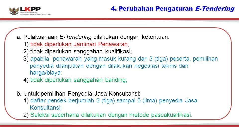 4. Perubahan Pengaturan E-Tendering a. Pelaksanaan E-Tendering dilakukan dengan ketentuan: 1) tidak diperlukan Jaminan Penawaran; 2) tidak diperlukan