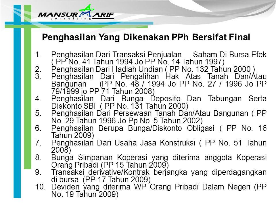 Penghasilan Yang Dikenakan PPh Bersifat Final 1.Penghasilan Dari Transaksi Penjualan Saham Di Bursa Efek ( PP No. 41 Tahun 1994 Jo PP No. 14 Tahun 199