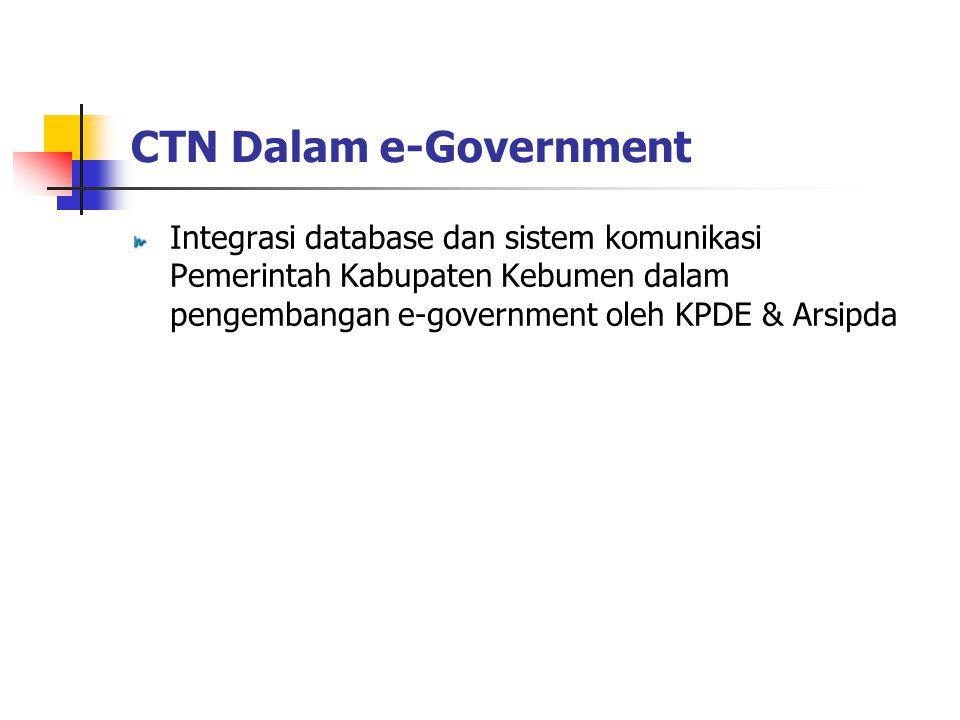 Integrasi database dan sistem komunikasi Pemerintah Kabupaten Kebumen dalam pengembangan e-government oleh KPDE & Arsipda CTN Dalam e-Government