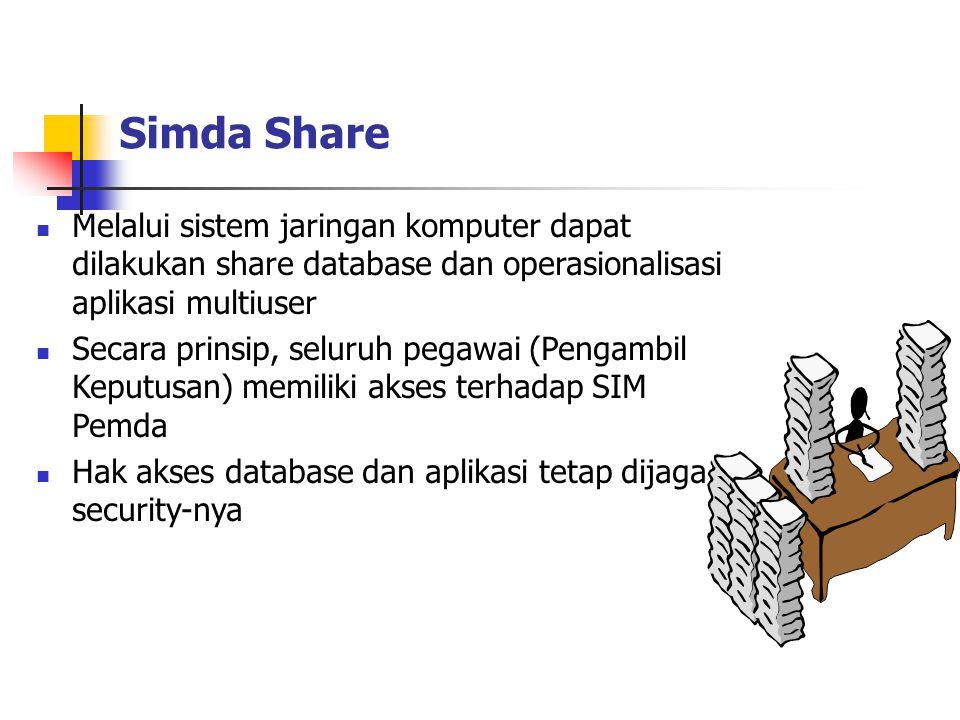 Simda Share Melalui sistem jaringan komputer dapat dilakukan share database dan operasionalisasi aplikasi multiuser Secara prinsip, seluruh pegawai (Pengambil Keputusan) memiliki akses terhadap SIM Pemda Hak akses database dan aplikasi tetap dijaga security-nya