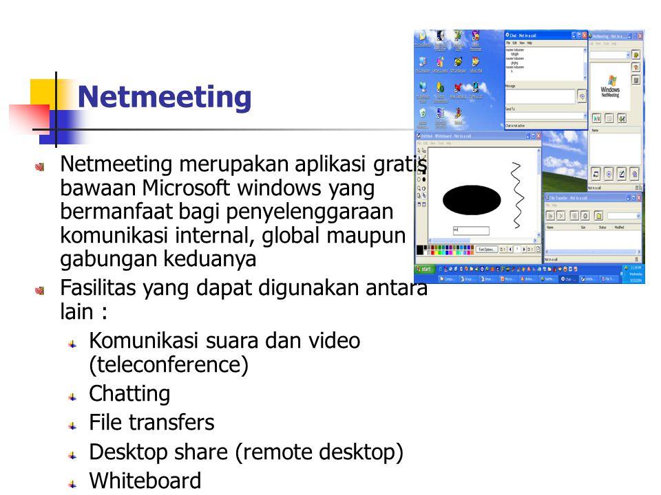 Netmeeting Netmeeting merupakan aplikasi gratis bawaan Microsoft windows yang bermanfaat bagi penyelenggaraan komunikasi internal, global maupun gabungan keduanya Fasilitas yang dapat digunakan antara lain : Komunikasi suara dan video (teleconference) Chatting File transfers Desktop share (remote desktop) Whiteboard