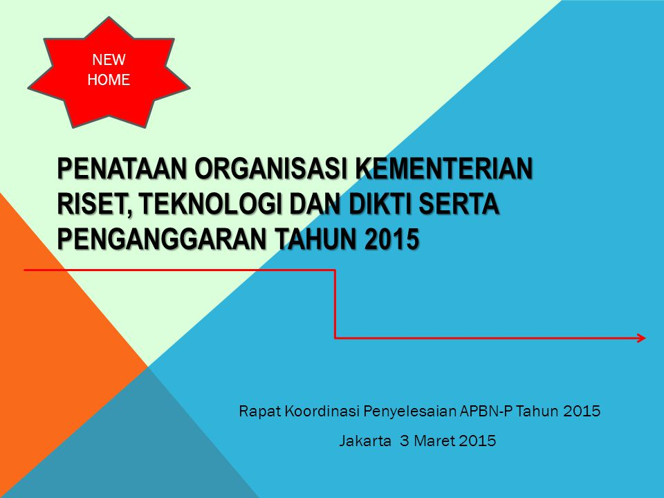 PENATAAN ORGANISASI KEMENTERIAN RISET, TEKNOLOGI DAN DIKTI SERTA PENGANGGARAN TAHUN 2015 Rapat Koordinasi Penyelesaian APBN-P Tahun 2015 Jakarta 3 Mar