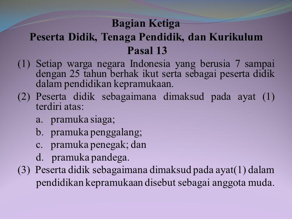 Pasal 12 Jenjang pendidikan kepramukaan terdiri atas jenjang pendidikan: a. siaga; b. penggalang; c. penegak; dan d. pandega.