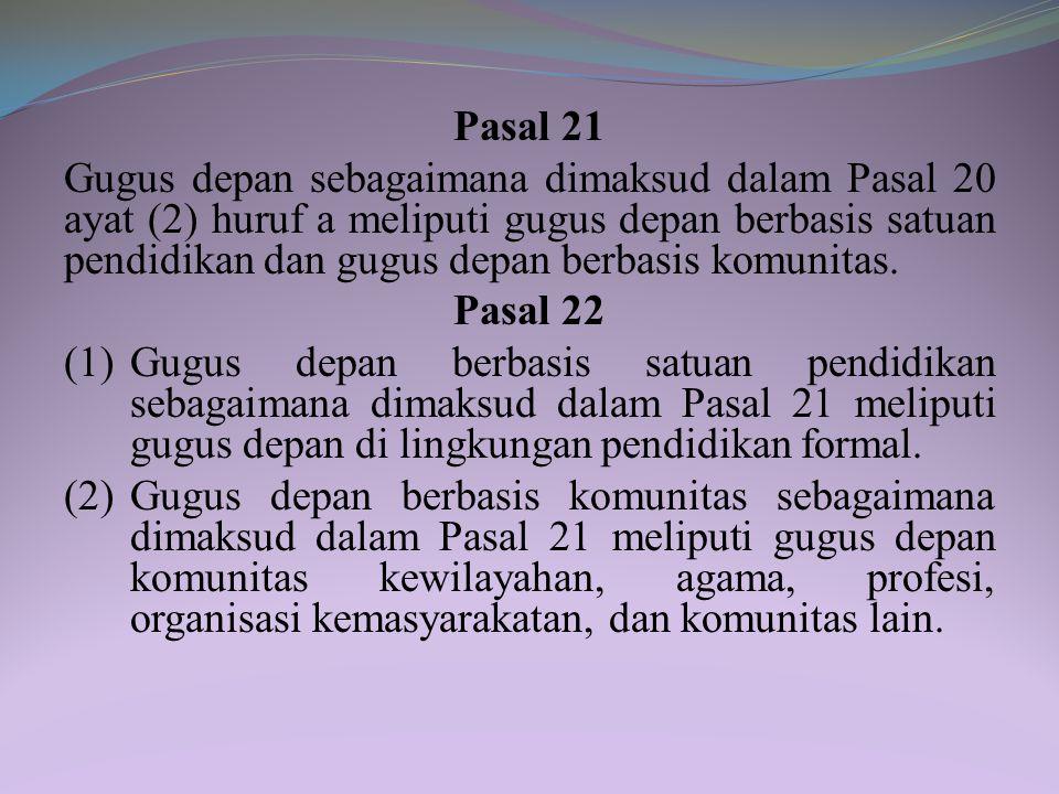 BAB IV KELEMBAGAAN Bagian Kesatu Umum Pasal 20 (1) Gerakan pramuka bersifat mandiri, sukarela, dan nonpolitis. (2) Satuan organisasi gerakan pramuka t