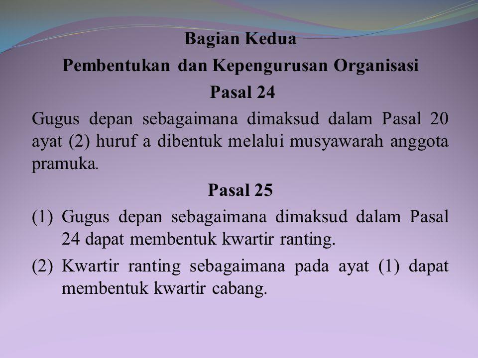 Pasal 23 Kwartir sebagaimana dimaksud dalam Pasal 20 ayat (2) huruf b terdiri atas: a. kwartir ranting; b. kwartir cabang; c. kwartir daerah; dan d. k