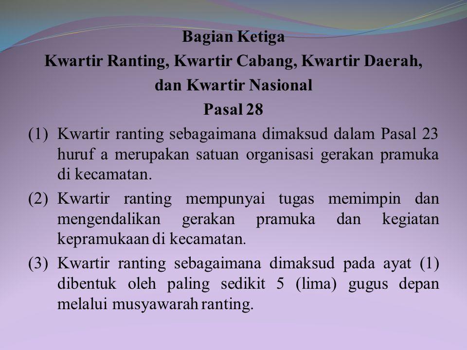 Pasal 26 (1) Kwartir cabang sebagaimana dimaksud dalam Pasal 25 ayat (2) dapat membentuk kwartir daerah. (2) Kwartir daerah sebagaimana dimaksud pada
