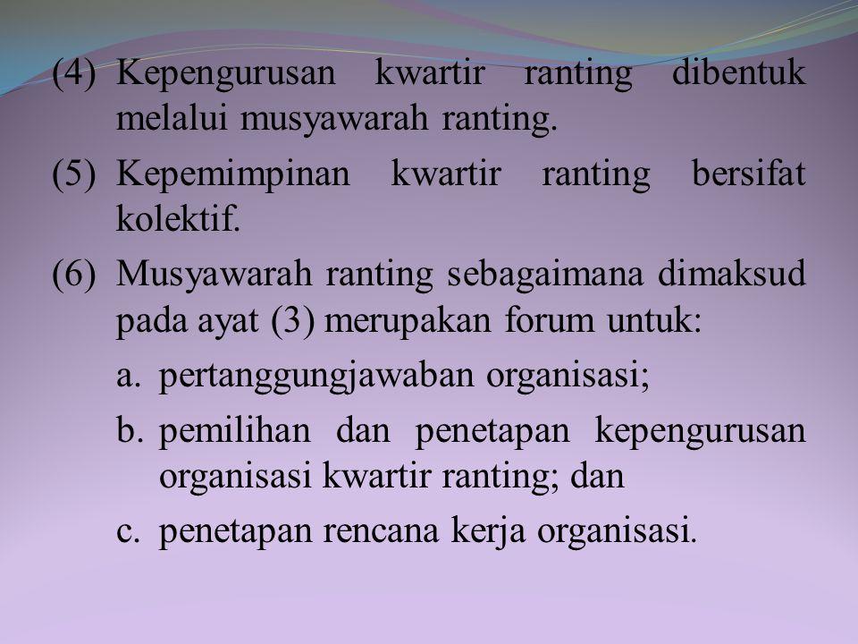Bagian Ketiga Kwartir Ranting, Kwartir Cabang, Kwartir Daerah, dan Kwartir Nasional Pasal 28 (1) Kwartir ranting sebagaimana dimaksud dalam Pasal 23 h