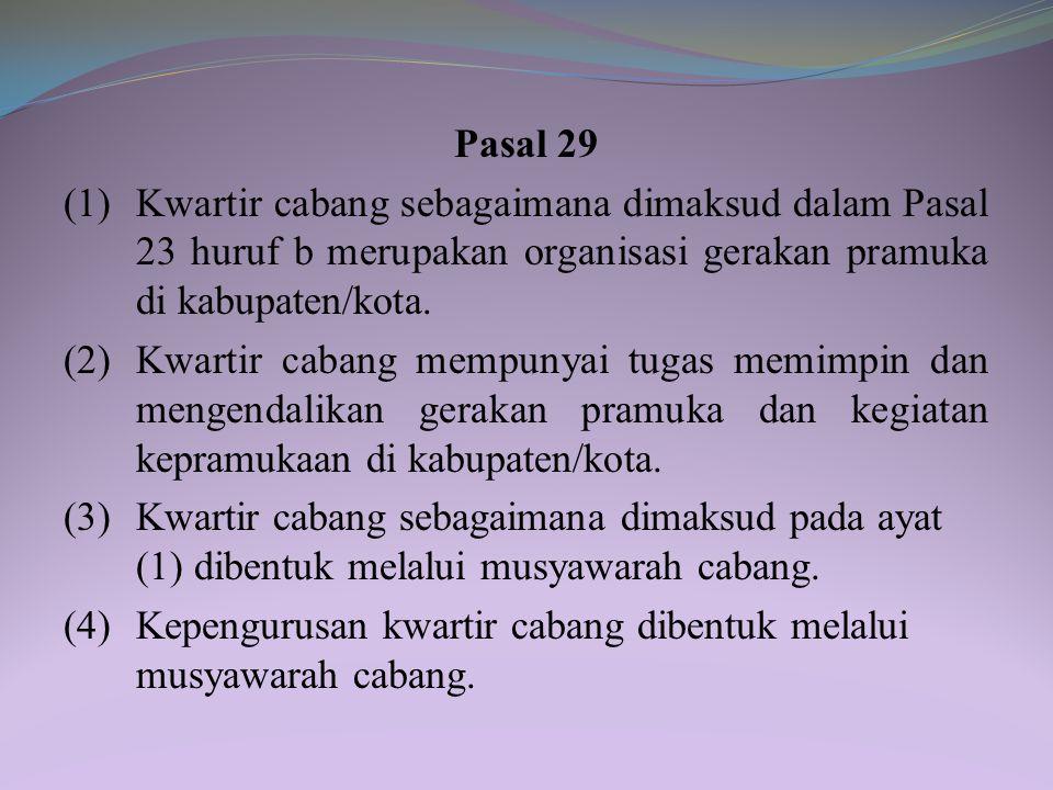 (4) Kepengurusan kwartir ranting dibentuk melalui musyawarah ranting. (5) Kepemimpinan kwartir ranting bersifat kolektif. (6) Musyawarah ranting sebag