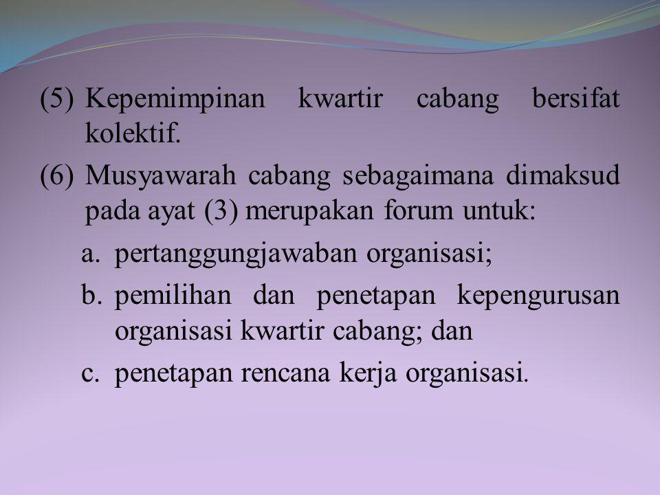Pasal 29 (1) Kwartir cabang sebagaimana dimaksud dalam Pasal 23 huruf b merupakan organisasi gerakan pramuka di kabupaten/kota. (2) Kwartir cabang mem