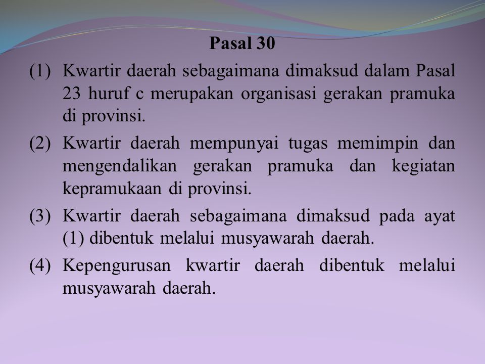 (5) Kepemimpinan kwartir cabang bersifat kolektif. (6) Musyawarah cabang sebagaimana dimaksud pada ayat (3) merupakan forum untuk: a. pertanggungjawab