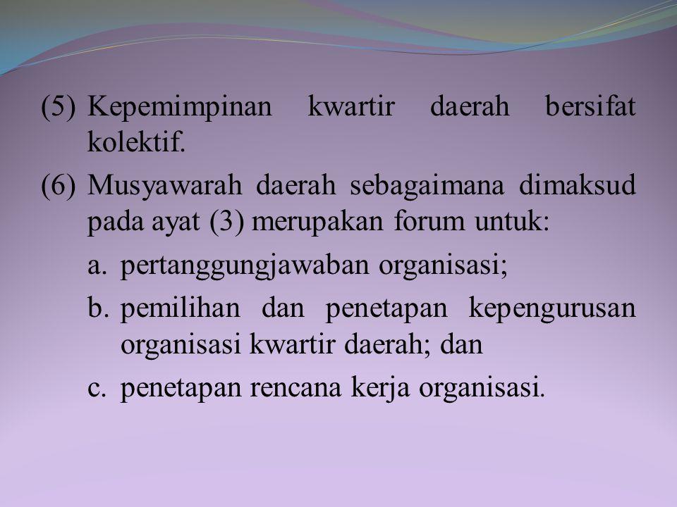 Pasal 30 (1) Kwartir daerah sebagaimana dimaksud dalam Pasal 23 huruf c merupakan organisasi gerakan pramuka di provinsi. (2) Kwartir daerah mempunyai