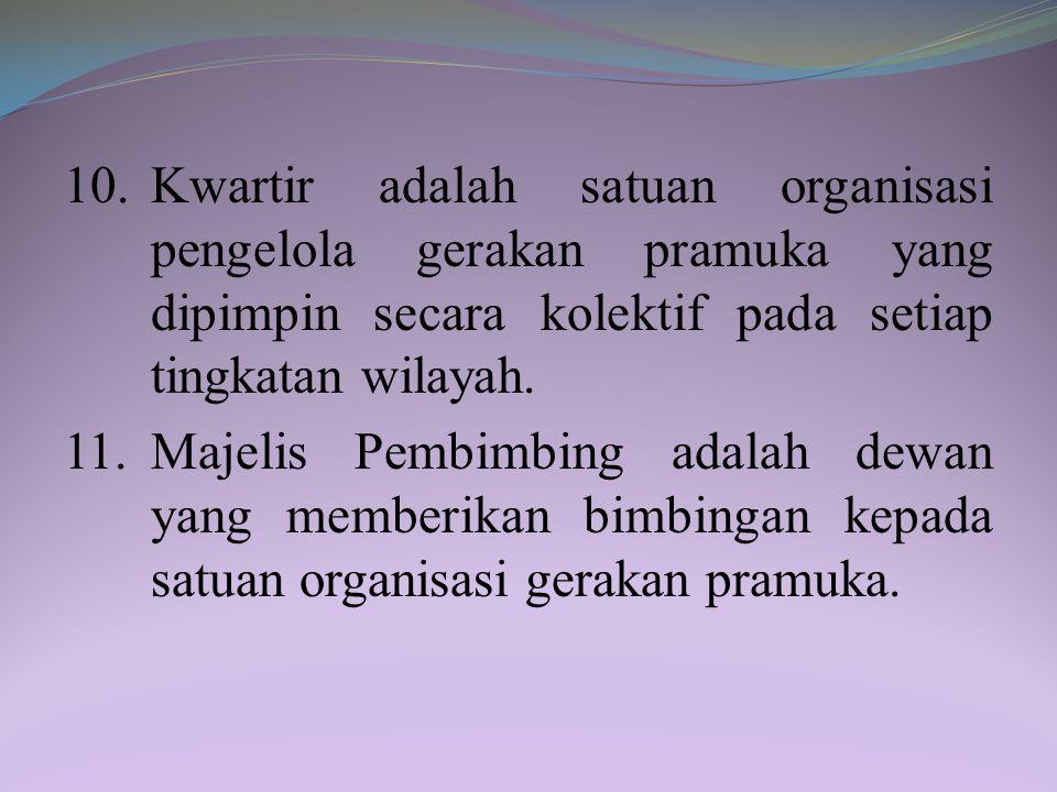 8.Satuan Karya Pramuka adalah satuan organisasi penyelenggara pendidikan kepramukaan bagi peserta didik sebagai anggota muda untuk meningkatkan penget