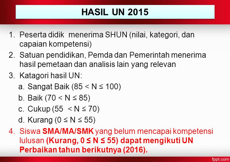 1.Peserta didik menerima SHUN (nilai, kategori, dan capaian kompetensi) 2.Satuan pendidikan, Pemda dan Pemerintah menerima hasil pemetaan dan analisis