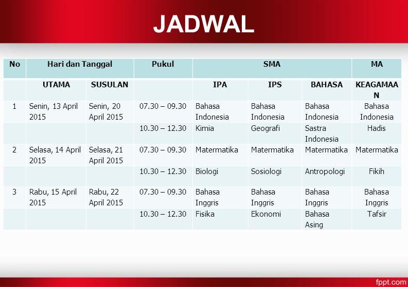 JADWAL NoHari dan TanggalPukulSMAMA UTAMASUSULANIPAIPSBAHASA KEAGAMAA N 1 Senin, 13 April 2015 Senin, 20 April 2015 07.30 – 09.30 Bahasa Indonesia 10.