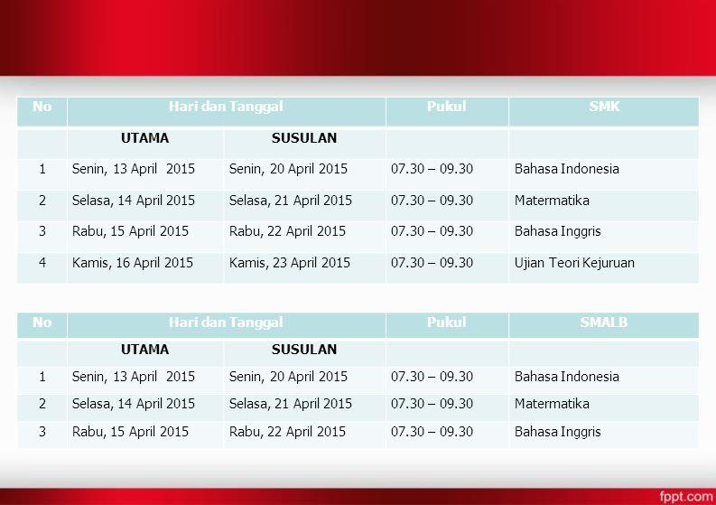 NoHari dan TanggalPukulSMK UTAMASUSULAN 1Senin, 13 April 2015Senin, 20 April 201507.30 – 09.30Bahasa Indonesia 2Selasa, 14 April 2015Selasa, 21 April