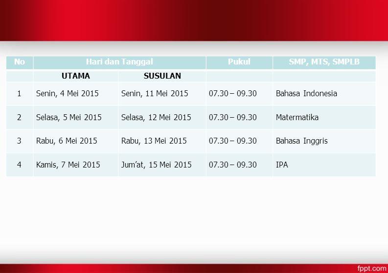 NoHari dan TanggalPukulSMP, MTS, SMPLB UTAMASUSULAN 1Senin, 4 Mei 2015Senin, 11 Mei 201507.30 – 09.30Bahasa Indonesia 2Selasa, 5 Mei 2015Selasa, 12 Me