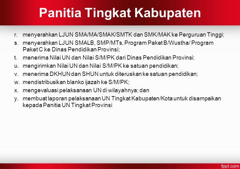 r.menyerahkan LJUN SMA/MA/SMAK/SMTK dan SMK/MAK ke Perguruan Tinggi; s.menyerahkan LJUN SMALB, SMP/MTs, Program Paket B/Wustha/ Program Paket C ke Din
