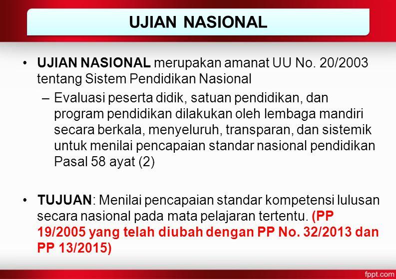 UJIAN NASIONAL merupakan amanat UU No. 20/2003 tentang Sistem Pendidikan Nasional –Evaluasi peserta didik, satuan pendidikan, dan program pendidikan d