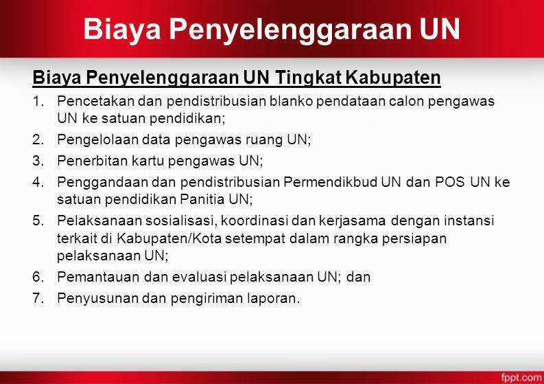 Biaya Penyelenggaraan UN Biaya Penyelenggaraan UN Tingkat Kabupaten 1.Pencetakan dan pendistribusian blanko pendataan calon pengawas UN ke satuan pend