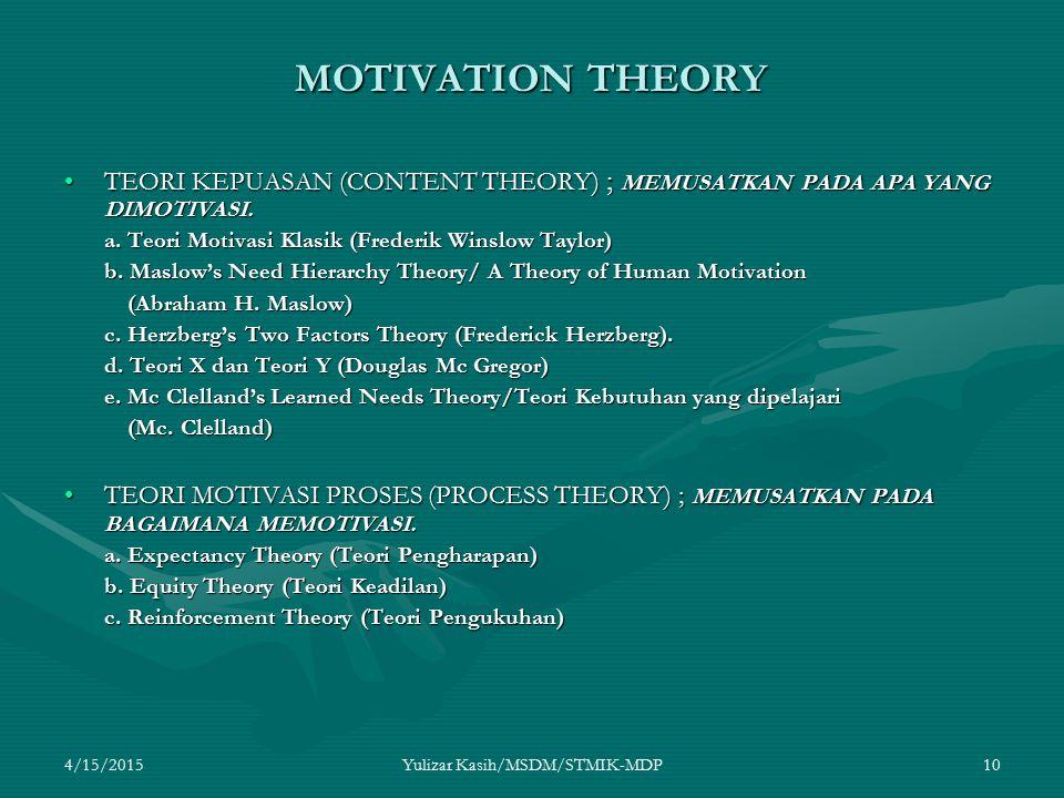 4/15/2015Yulizar Kasih/MSDM/STMIK-MDP10 MOTIVATION THEORY TEORI KEPUASAN (CONTENT THEORY) ; MEMUSATKAN PADA APA YANG DIMOTIVASI.TEORI KEPUASAN (CONTEN