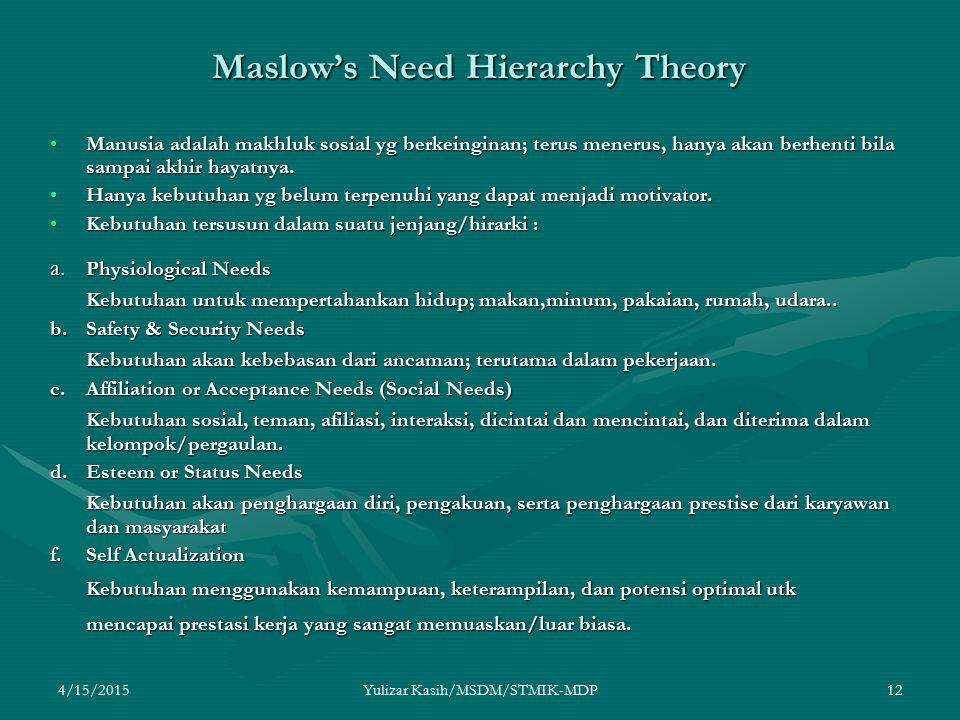 4/15/2015Yulizar Kasih/MSDM/STMIK-MDP12 Maslow's Need Hierarchy Theory Manusia adalah makhluk sosial yg berkeinginan; terus menerus, hanya akan berhen