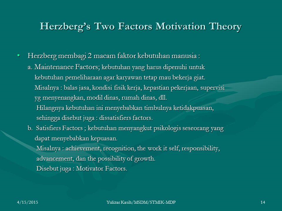4/15/2015Yulizar Kasih/MSDM/STMIK-MDP14 Herzberg's Two Factors Motivation Theory Herzberg membagi 2 macam faktor kebutuhan manusia :Herzberg membagi 2