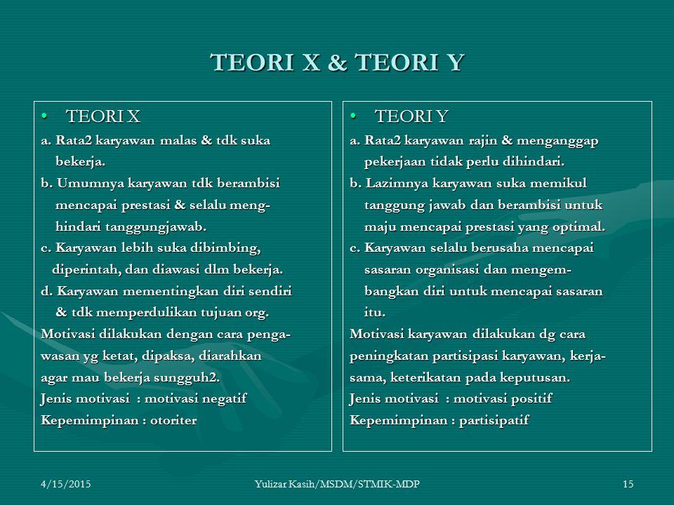 4/15/2015Yulizar Kasih/MSDM/STMIK-MDP15 TEORI X & TEORI Y TEORI XTEORI X a. Rata2 karyawan malas & tdk suka bekerja. bekerja. b. Umumnya karyawan tdk