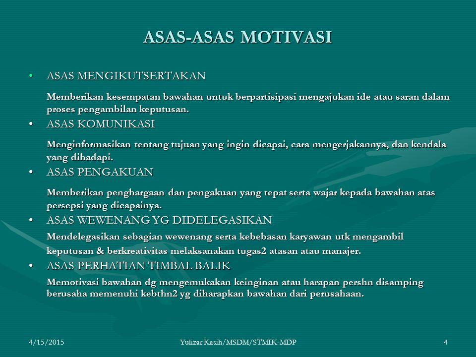 4/15/2015Yulizar Kasih/MSDM/STMIK-MDP4 ASAS-ASAS MOTIVASI ASAS MENGIKUTSERTAKANASAS MENGIKUTSERTAKAN Memberikan kesempatan bawahan untuk berpartisipas