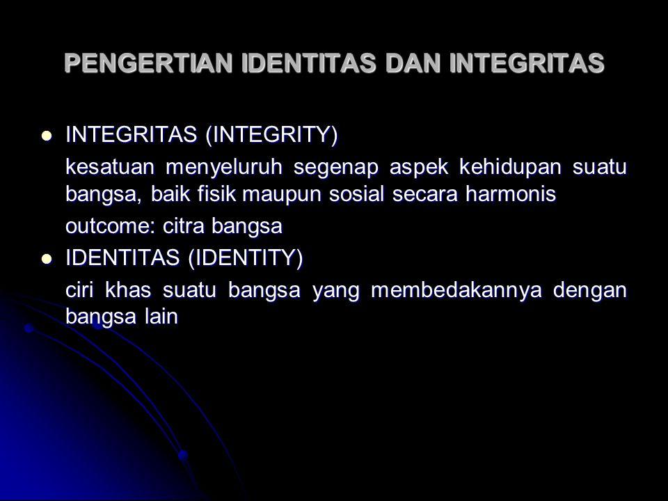PENGERTIAN IDENTITAS DAN INTEGRITAS INTEGRITAS (INTEGRITY) INTEGRITAS (INTEGRITY) kesatuan menyeluruh segenap aspek kehidupan suatu bangsa, baik fisik