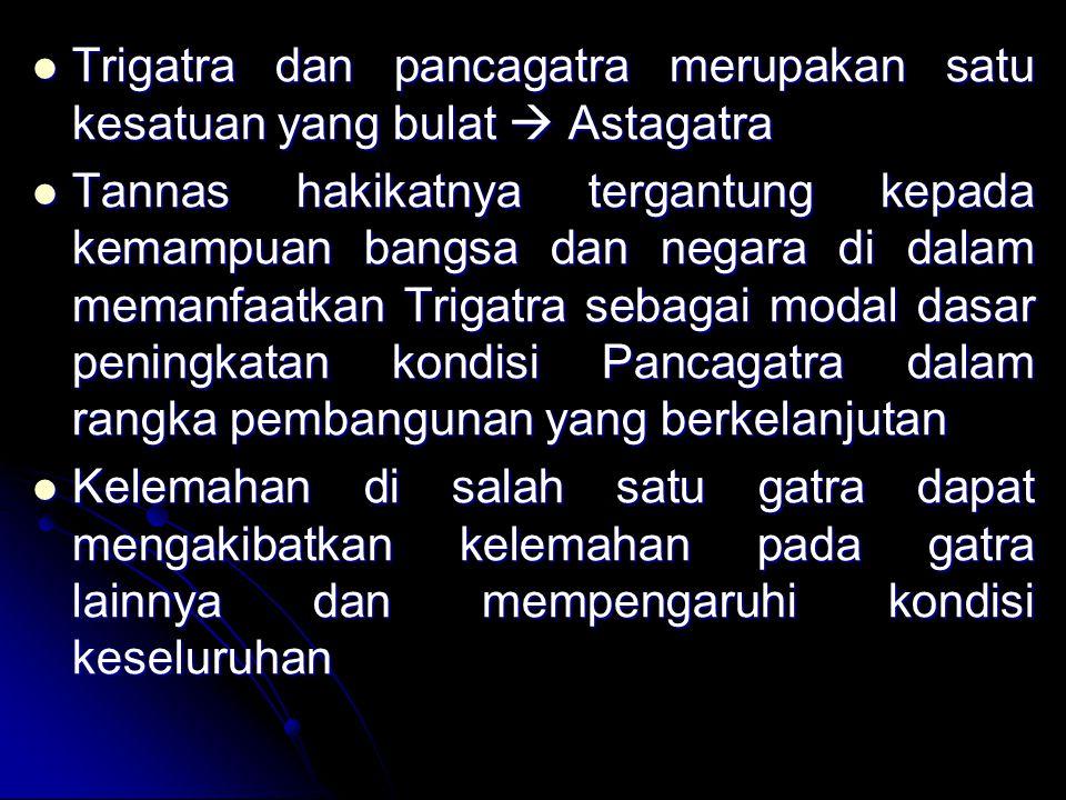 Trigatra dan pancagatra merupakan satu kesatuan yang bulat  Astagatra Trigatra dan pancagatra merupakan satu kesatuan yang bulat  Astagatra Tannas h