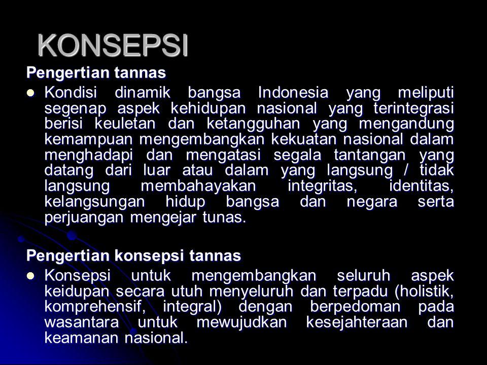 KONSEPSI Pengertian tannas Kondisi dinamik bangsa Indonesia yang meliputi segenap aspek kehidupan nasional yang terintegrasi berisi keuletan dan ketan