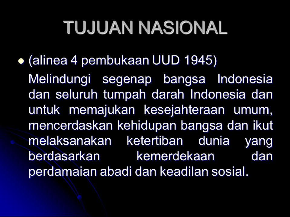 TUJUAN NASIONAL (alinea 4 pembukaan UUD 1945) (alinea 4 pembukaan UUD 1945) Melindungi segenap bangsa Indonesia dan seluruh tumpah darah Indonesia dan