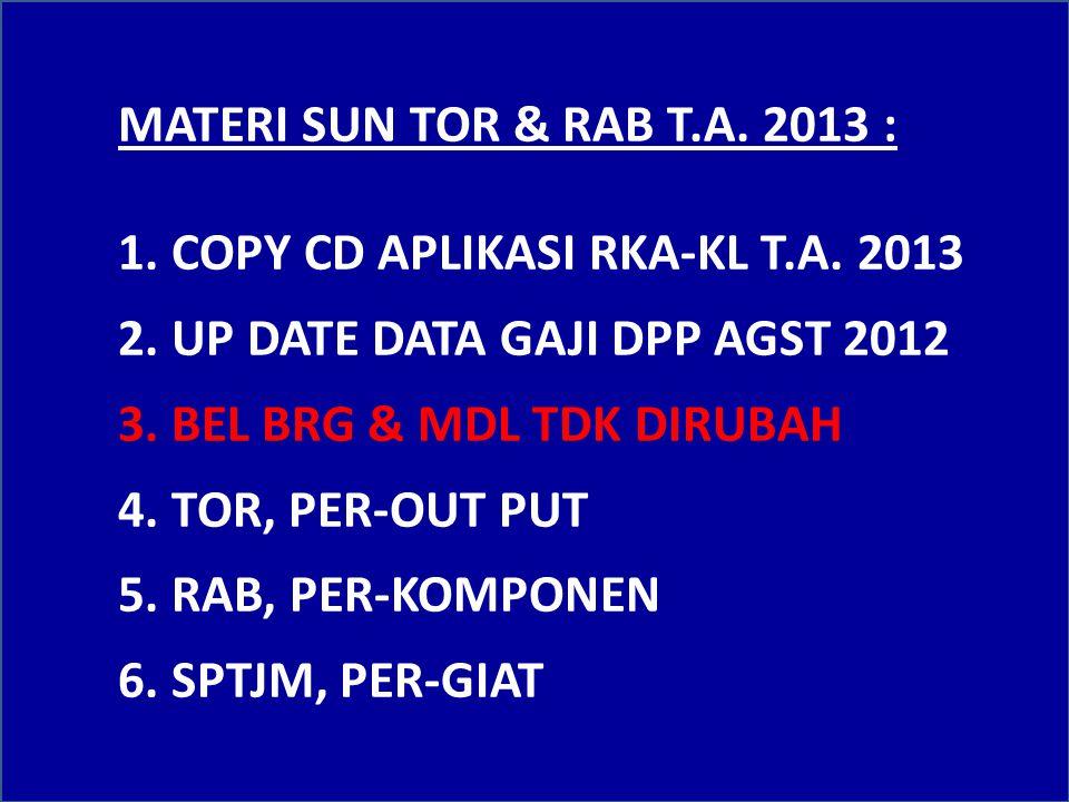 SELAMAT DATANG PEJABAT PENGEMBAN FUNGREN DAN OPERATOR SATKER JAJARAN POLDA JATIM DALAM ACARA : SUN TOR & RAB T.A.2013 (SBG DATA DUKUNG RKA-KL SATKER T