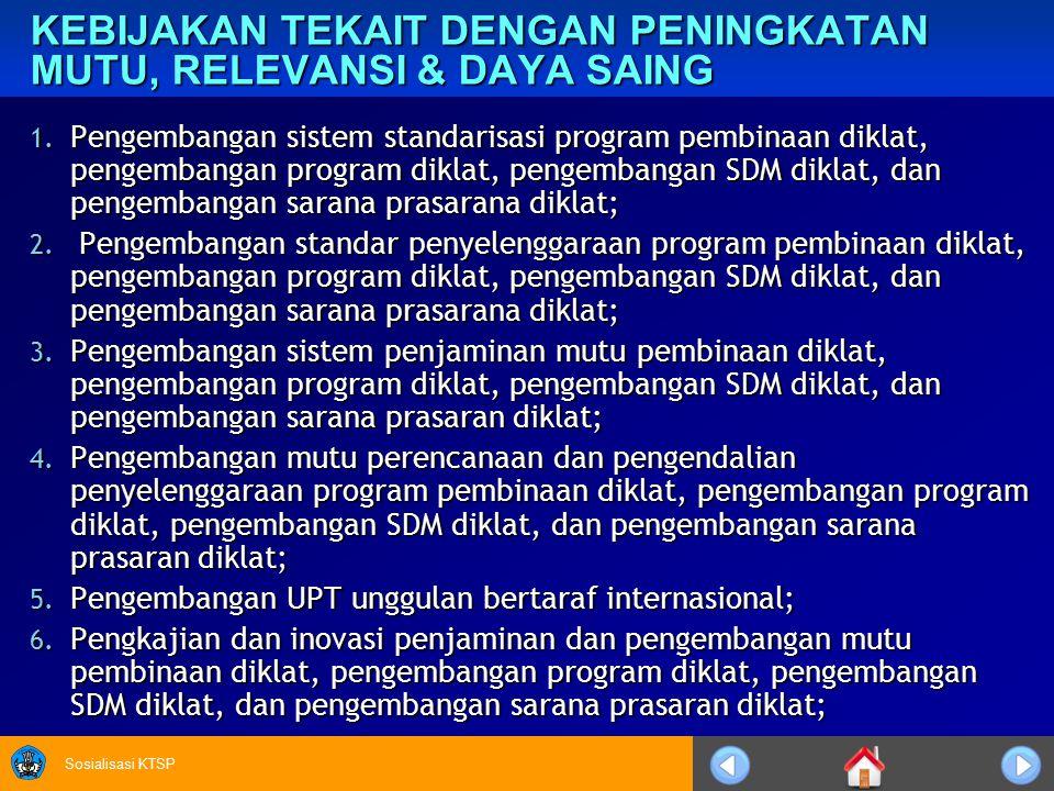 Sosialisasi KTSP KEBIJAKAN TEKAIT DENGAN PENINGKATAN MUTU, RELEVANSI & DAYA SAING 1. Pengembangan sistem standarisasi program pembinaan diklat, pengem