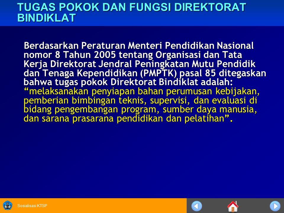 Sosialisasi KTSP TUGAS POKOK DAN FUNGSI DIREKTORAT BINDIKLAT Berdasarkan Peraturan Menteri Pendidikan Nasional nomor 8 Tahun 2005 tentang Organisasi d