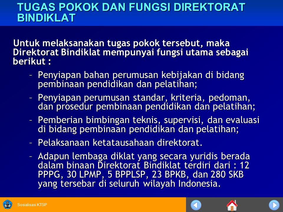 Sosialisasi KTSP TUGAS POKOK DAN FUNGSI DIREKTORAT BINDIKLAT Untuk melaksanakan tugas pokok tersebut, maka Direktorat Bindiklat mempunyai fungsi utama