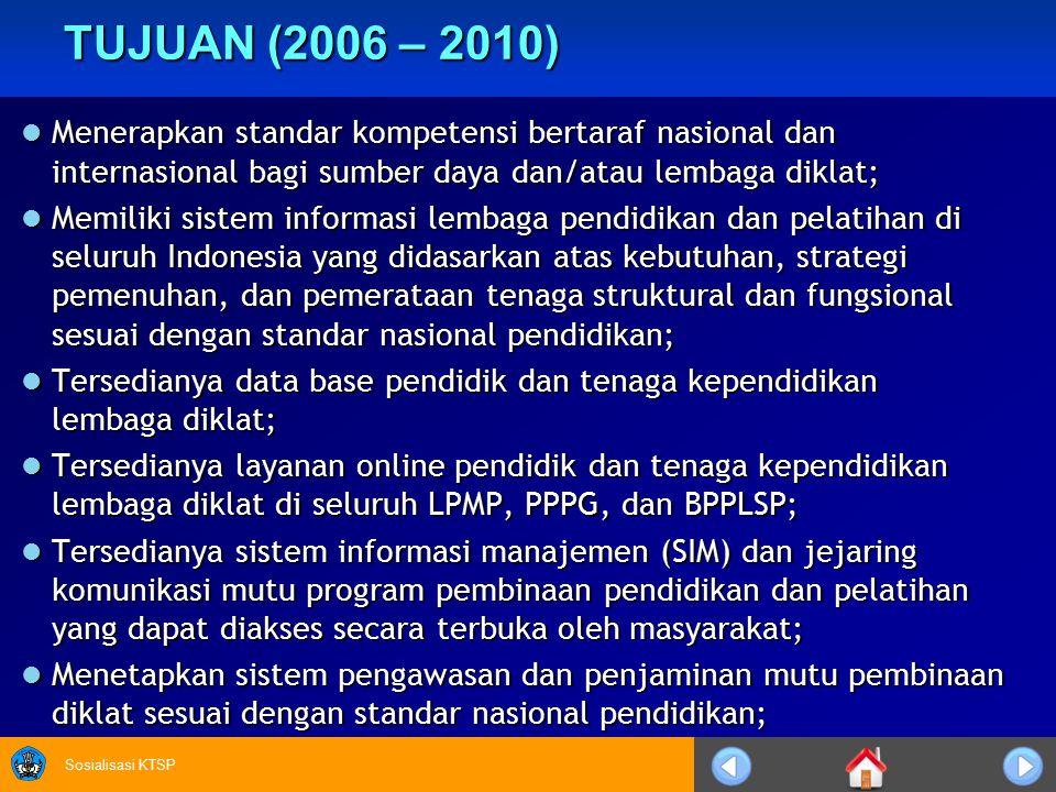 Sosialisasi KTSP TUJUAN (2006 – 2010) Menerapkan standar kompetensi bertaraf nasional dan internasional bagi sumber daya dan/atau lembaga diklat; Mene