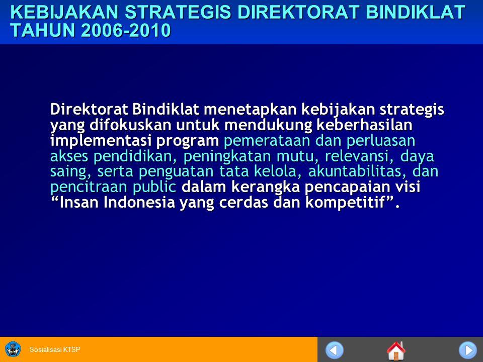 Sosialisasi KTSP KEBIJAKAN STRATEGIS DIREKTORAT BINDIKLAT TAHUN 2006-2010 Direktorat Bindiklat menetapkan kebijakan strategis yang difokuskan untuk mendukung keberhasilan implementasi program pemerataan dan perluasan akses pendidikan, peningkatan mutu, relevansi, daya saing, serta penguatan tata kelola, akuntabilitas, dan pencitraan public dalam kerangka pencapaian visi Insan Indonesia yang cerdas dan kompetitif .