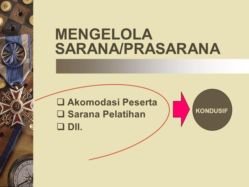 MENGELOLA SARANA/PRASARANA  Akomodasi Peserta  Sarana Pelatihan  Dll. KONDUSIF