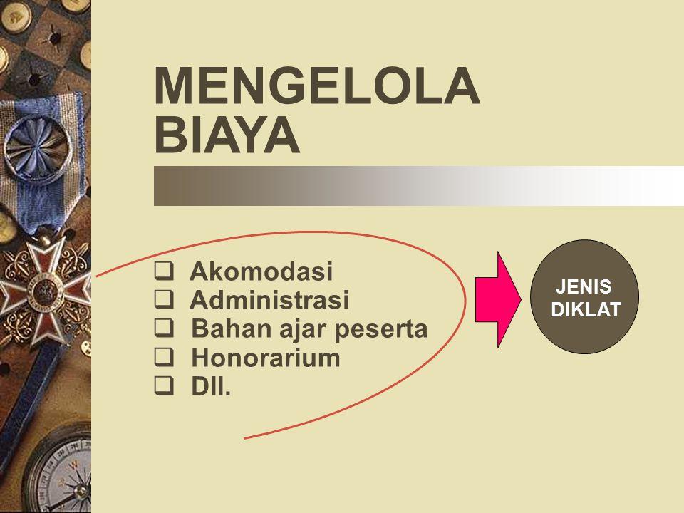 MENGELOLA BIAYA  Akomodasi dministrasi  Bahan ajar peserta  Honorarium  Dll. JENIS DIKLAT