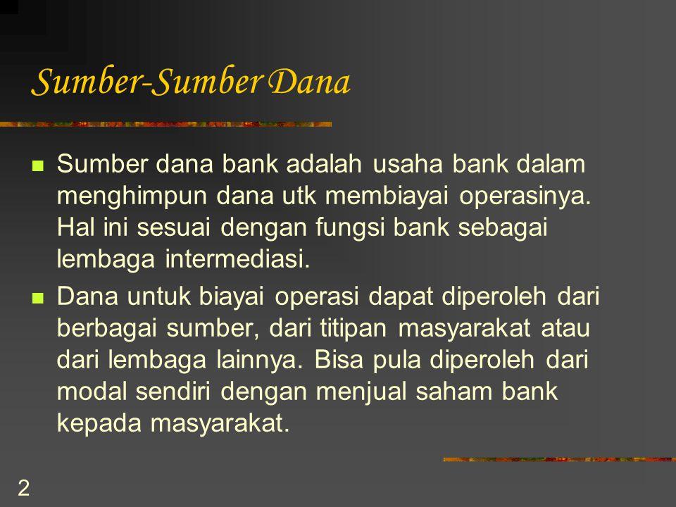 2 Sumber-Sumber Dana Sumber dana bank adalah usaha bank dalam menghimpun dana utk membiayai operasinya. Hal ini sesuai dengan fungsi bank sebagai lemb