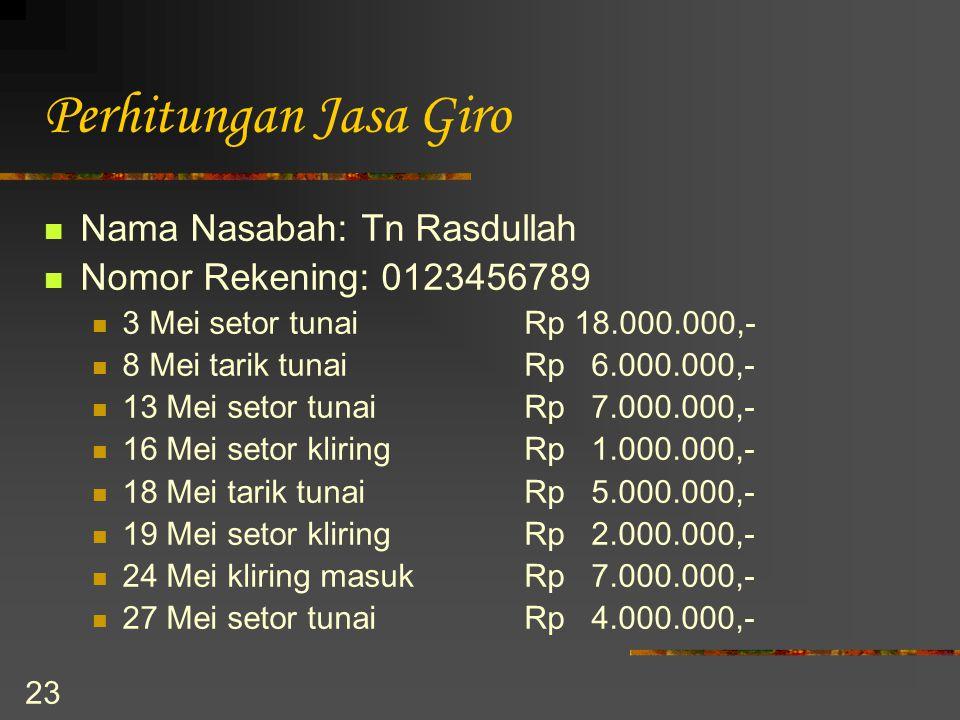 23 Perhitungan Jasa Giro Nama Nasabah: Tn Rasdullah Nomor Rekening: 0123456789 3 Mei setor tunai Rp 18.000.000,- 8 Mei tarik tunaiRp 6.000.000,- 13 Me