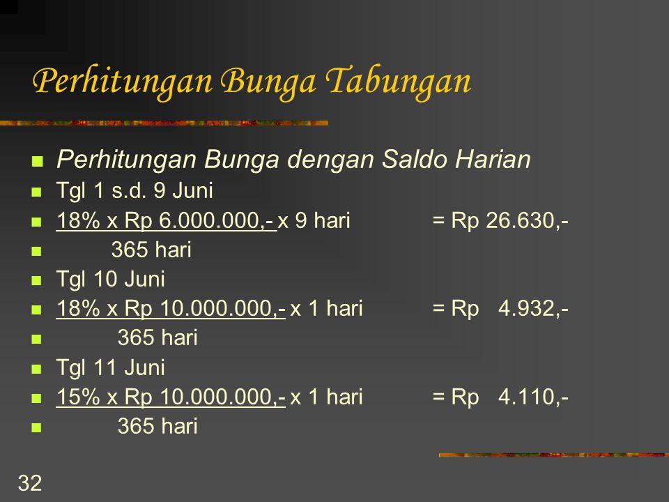 32 Perhitungan Bunga Tabungan Perhitungan Bunga dengan Saldo Harian Tgl 1 s.d. 9 Juni 18% x Rp 6.000.000,- x 9 hari= Rp 26.630,- 365 hari Tgl 10 Juni